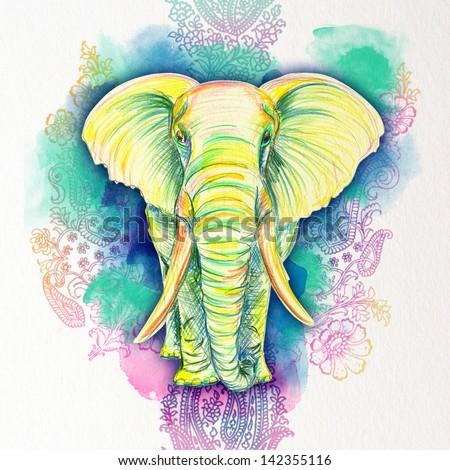 Drawn Elephant of color pencils