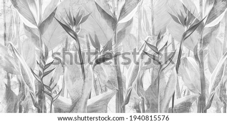 Drawn exotic tropical leaves and flowers on concrete grunge wall. Floral background. Design for wallpaper, photo wallpaper, mural, card, postcard.