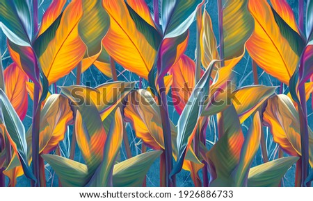 Drawn exotic tropical leaves on concrete grunge wall. Floral background. Design for wallpaper, photo wallpaper, mural, card, postcard.