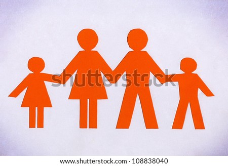 Drawn family orange isolated on a white background.