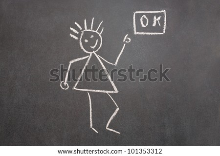 Drawn girl showing okay on school chalkboard