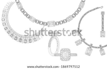 Drawn jewelry set. Diamond necklace, gemstone ring. Luxurious shiny jewelry pattern. Advertising material