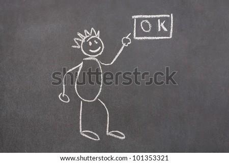 Drawn man showing ok on school chalkboard