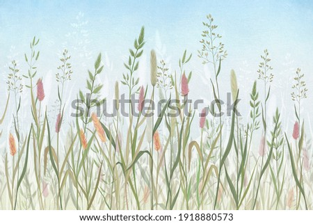 Drawn meadow grass on a textured background for printing. Printing for interior design and various printing houses.