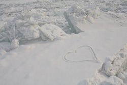 Drawn on the snow heart