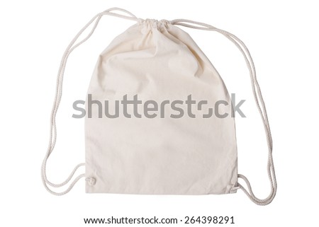 Drawstring pack template jute isolated on white with clipping path