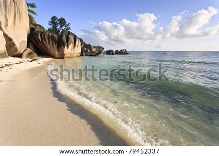Dream beach on the island of La Digue, Seychelles, Indian Ocean