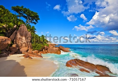 Dream beach with a big stones, Seychelles, La Digue island - stock photo