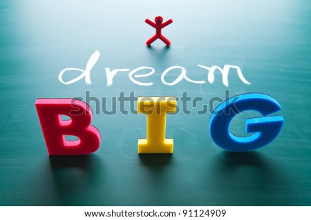 dream big words on blackboard with colorful alphabets.
