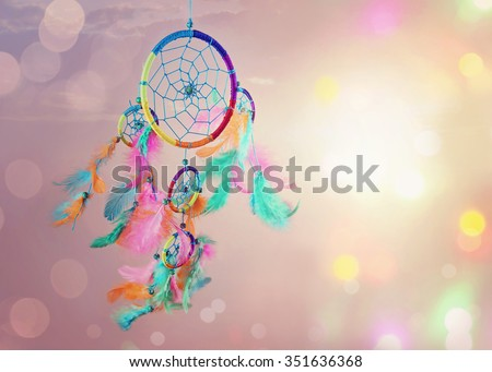 Dream catcher and abstract bokeh background #351636368