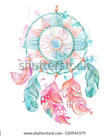 Dream catcher, feathers and beads. Feathers on a watercolor background. Watercolor ethnic dream catcher. Hand painted illustration for your design