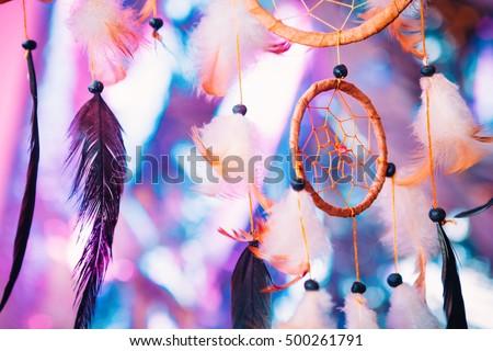 Dream catcher  on the bright multicolored background #500261791