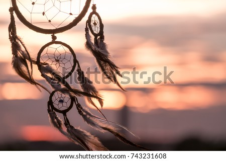 Dream Catcher on the sunset background