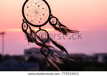Dream Catcher on the sunset background #773923651