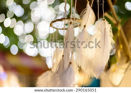 dream catcher with bokeh lights background at night #290165051