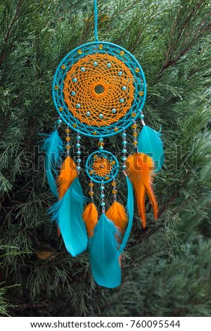 Dream catcher with feathers threads and beads rope hanging. Dreamcatcher handmade #760095544
