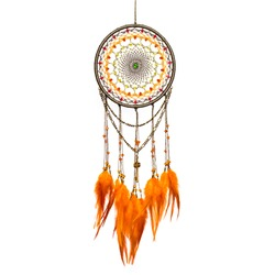 Dream catcher with feathers threads and beads rope hanging. Dreamcatcher handmade isolated on white