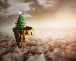 Dream Christmas. Christmas tree floating over the clouds