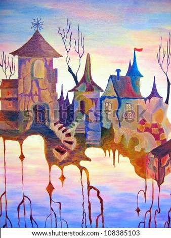 Dream city in the sky. Oil painting. Fantasy abstract. Sunset with fairy tail style building.