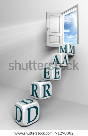 dream conceptual door with sky and box word  ladder in white room metaphor