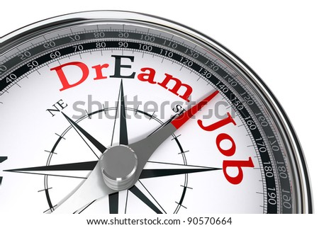 dream job the way indicated by compass conceptual image
