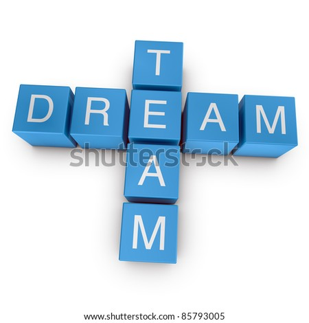 Dream team crossword on white background, 3D rendered illustration