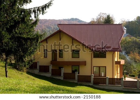 Dream yellow house in nature of Romania
