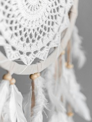 Dreamcatcher - native American amulet, boho-chic, ethnic protection. Soft focus. Closeup.