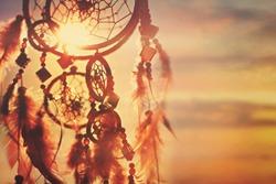 Dreamcatcher sunset , boho chic, ethnic amulet.