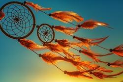 Dreamcatcher sunset , boho chic, ethnic amulet,symbol