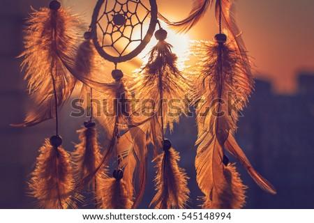 Dreamcatcher sunset , boho chic, ethnic amulet,symbol,city silhouette