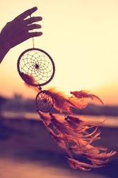 Dreamcatcher sunset , the mountains, boho chic, ethnic amulet,symbol.