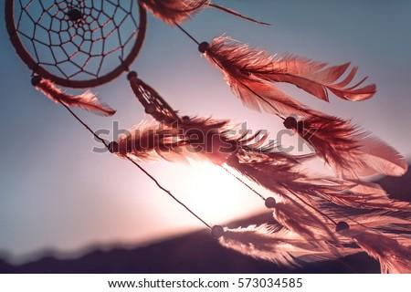 Dreamcatcher sunset , the mountains, boho chic, ethnic amulet,symbol Imagine de stoc ©