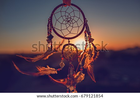 Dreamcatcher sunset , the mountains, boho chic, ethnic amulet,symbol #679121854