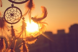 Dreamcatcher sunset , the mountains,contour city. Boho chic, ethnic amulet,symbol