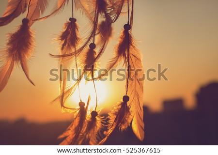 Dreamcatcher sunset , the mountains,contour city. Boho chic, ethnic amulet,symbol #525367615