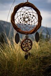 Dreamcatcher traditional amulet, boho chic.