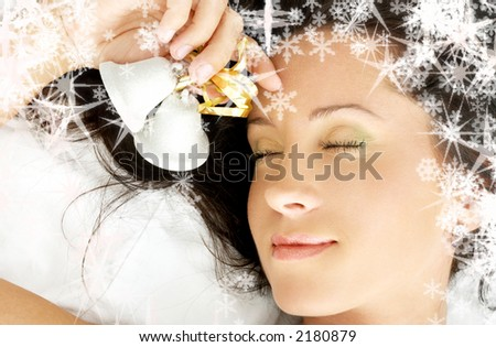 dreaming girl with christmas bells and rendered snowflakes