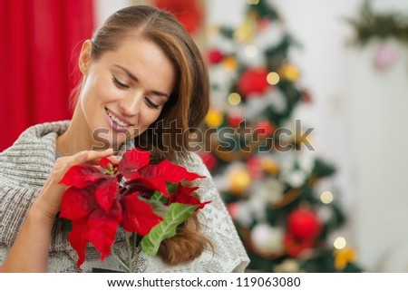 Dreaming woman in front of Christmas tree holding Christmas rose