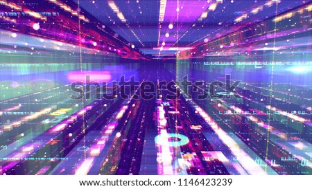 dreamlike 3d illustration of a shining space design structure from several surfaces and a hole between them looking like a time portal. Round and oval UFOs are flying along it in the violet universe.