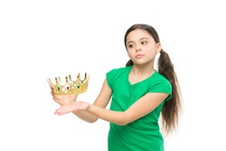 Dreams and fairy tales. Every girl dreaming to become princess. Lady adorable little princess. Royal family concept. In my dreams I could be princess. Kid wear golden crown symbol of princess.