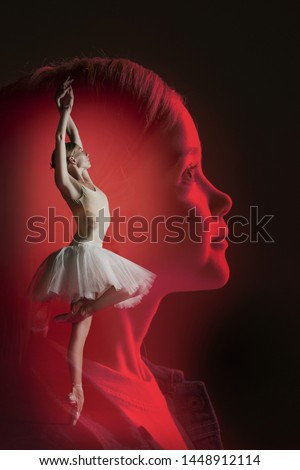 Dreams of little girl to be a ballerina, creative collage. Young female model dreaming about the big scene, dancing and fame. Creative collage made of 2 models. Childhood, dance, ballet concept.