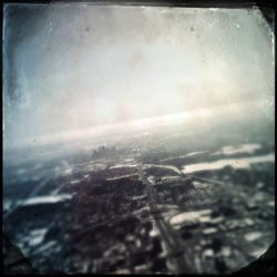 Dreamy birds eye cityscape tintype
