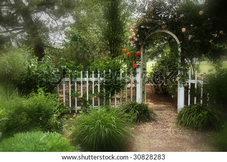Dreamy cottage garden with picket fence and arched gateway covered in roses.  Enhanced to make it even more inviting and a bit mystical.