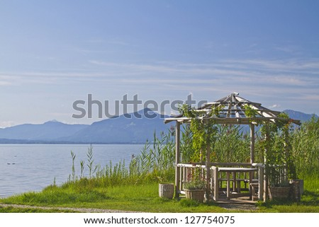 Dreamy garden pavilion on the shores of Lake Chiemsee
