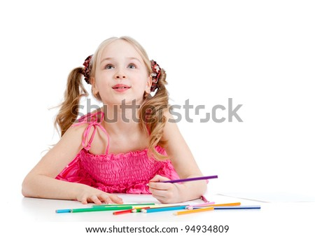 dreamy girl with pencils isolated on white background