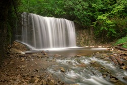 Dreamy long exposure photo of Hoggs Falls near Owen Sound in Ontario, Canada