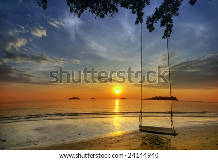 Dreamy sunset on tropical beach. Siam bay. Province Trat. Koh Chang island. Kingdom Thailand