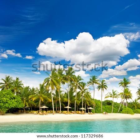 dreamy tropical island beach with perfect blue sky