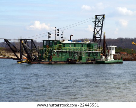 Dredge barge on Long Island river
